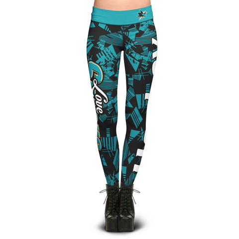 San Jose Sharks Geometric Print Leggings
