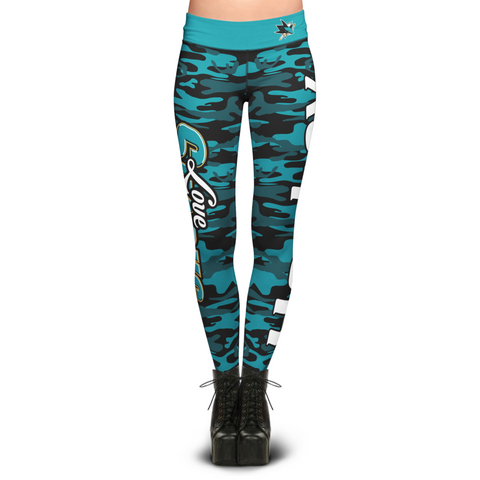 San Jose Sharks Camo Print Leggings