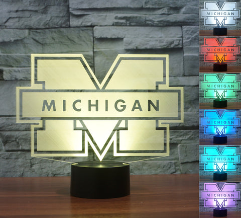 "Michigan Wolverines ""Logo"" - 3D LED Lamp/Night Light"