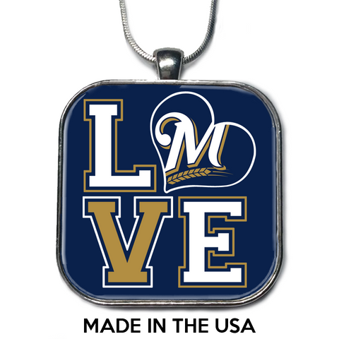Love Milwaukee Brewers Necklace