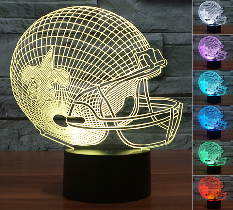 "New Orleans Saints ""Helmet"" - 3D LED Lamp/Night Light"