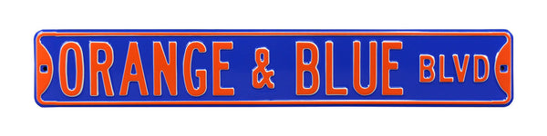 Orange & Blue Blvd Street Sign