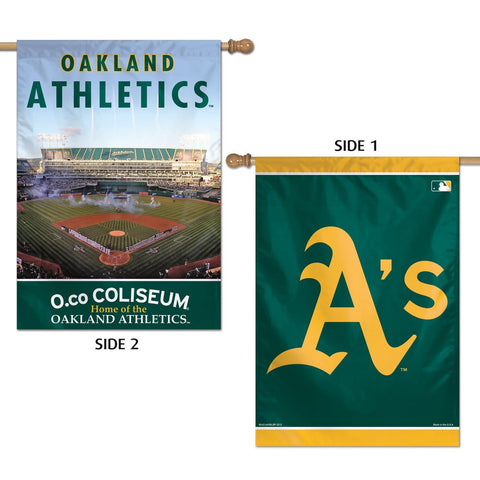 "Oakland A's 28"" x 40"" Two-Sided Vertical Banner Flag"