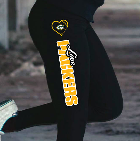 Love Green Bay Packers Cotton Leggings