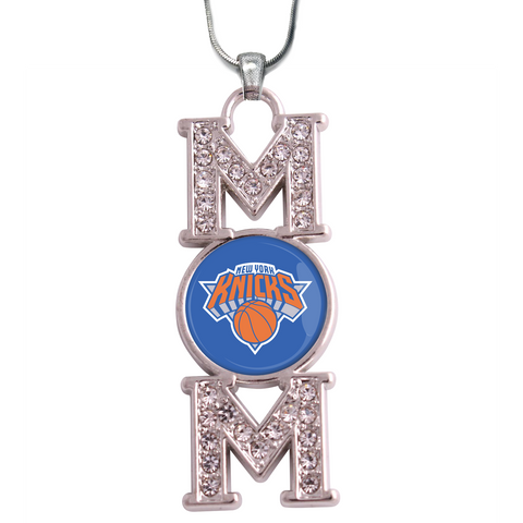 "New York Knicks ""Mom"" Crystal Silver Necklace"