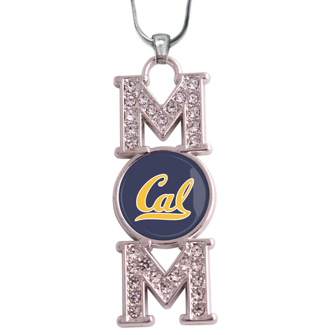 "California Golden Bears ""Mom"" Crystal Silver Necklace"
