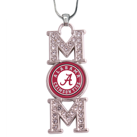 "Alabama Crimson Tide ""Mom"" Crystal Silver Necklace"