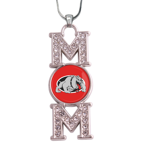 "Georgia Bulldogs ""Mom"" Crystal Silver Necklace"