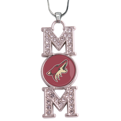 "Arizona Coyotes ""Mom"" Crystal Silver Necklace"