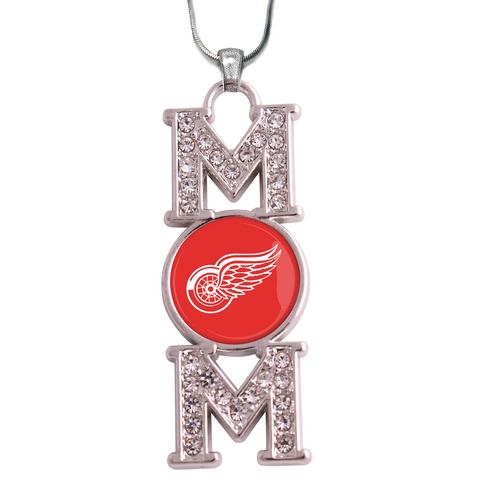 "Detroit Red Wings ""Mom"" Crystal Silver Necklace"