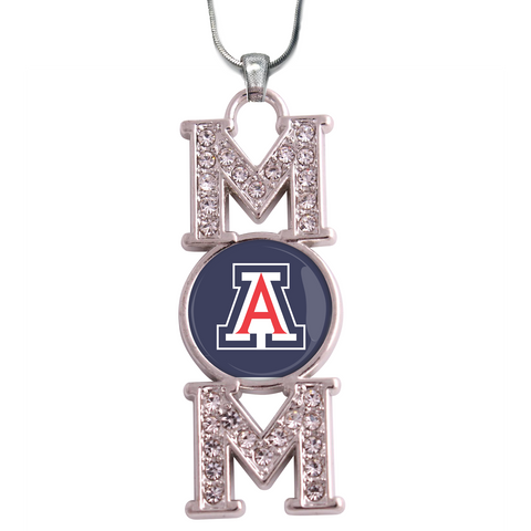 "Arizona Wildcats ""Mom"" Crystal Silver Necklace"