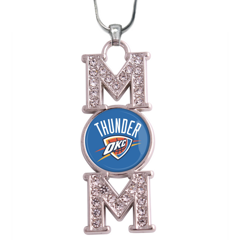 "Oklahoma City Thunder ""Mom"" Crystal Silver Necklace"