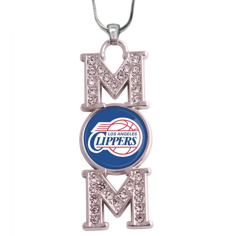 "Los Ageles Clippers ""Mom"" Crystal Silver Necklace"