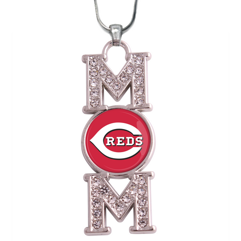 "Cincinatti Reds ""Mom"" Crystal Silver Necklace"