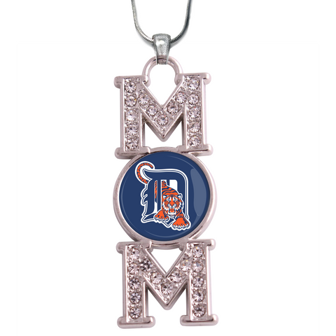 "Detroit Tigers ""Mom"" Crystal Silver Necklace"
