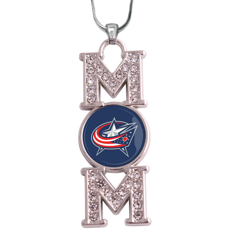 "Columbus Blue Jackets ""Mom"" Crystal Silver Necklace"