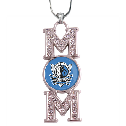 "Dallas Mavericks ""Mom"" Crystal Silver Necklace"