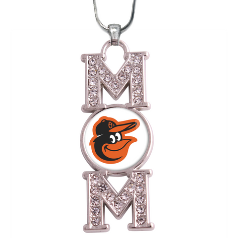 "Baltimore Orioles ""Mom"" Crystal Silver Necklace"