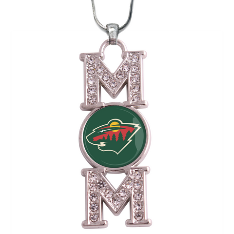 "Minnesota Wild ""Mom"" Crystal Silver Necklace"