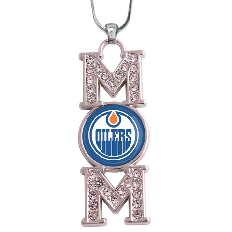 "Edmonton Oilers ""Mom"" Crystal Silver Necklace"