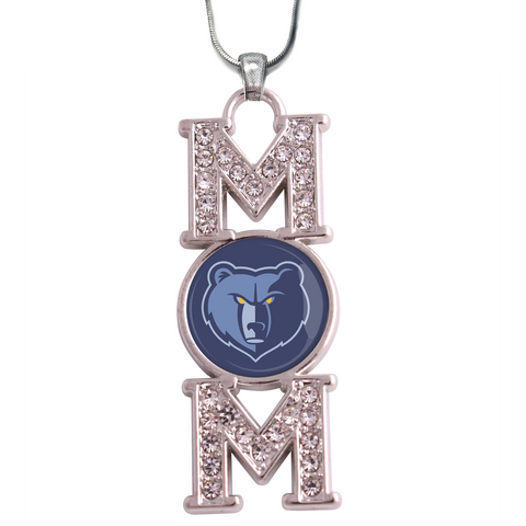 "Memphis Grizzlie ""Mom"" Crystal Silver Necklace"