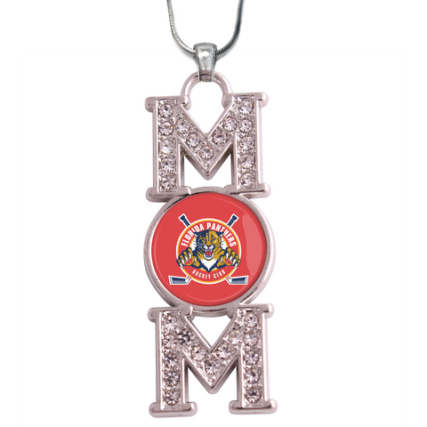 "Florida Panthers ""Mom"" Crystal Silver Necklace"