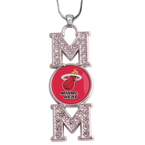 "Miami Heat ""Mom"" Crystal Silver Necklace"