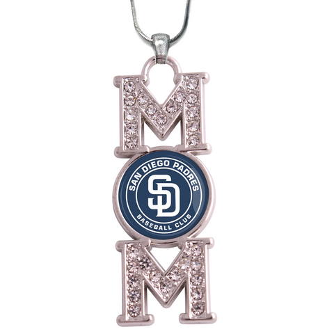 "San Diego Padres ""Mom"" Crystal Silver Necklace"