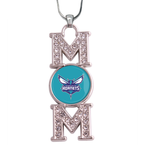 "Charlotte Hornets ""Mom"" Crystal Silver Necklace"