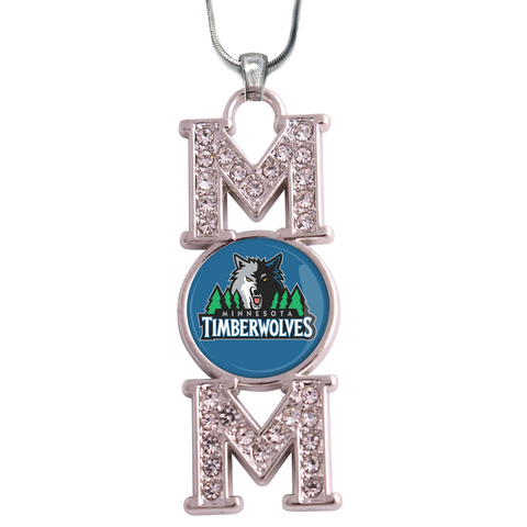 "Minnesota Timberwolves ""Mom"" Crystal Silver Necklace"