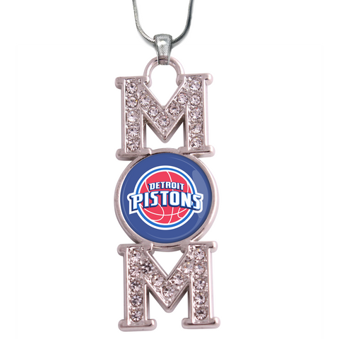 "Detroit Pistons ""Mom"" Crystal Silver Necklace"