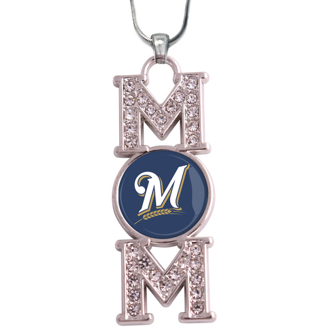 "Milwaukee Brewers ""Mom"" Crystal Silver Necklace"