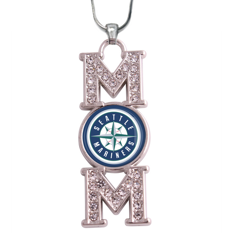 "Seattle Mariners ""Mom"" Crystal Silver Necklace"