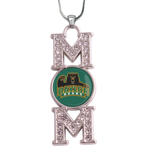 "Baylor Bears ""Mom"" Crystal Silver Necklace"