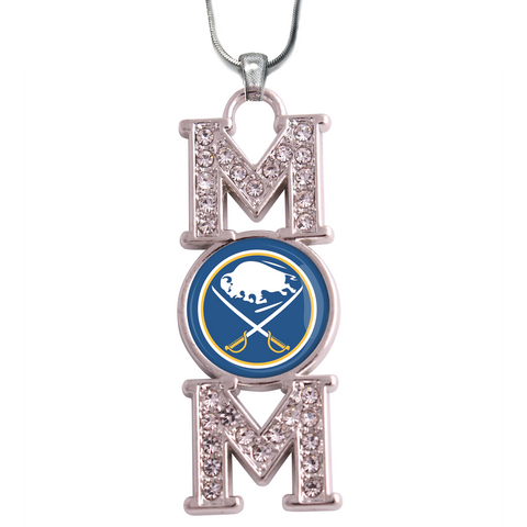"Buffalo Sabres ""Mom"" Crystal Silver Necklace"