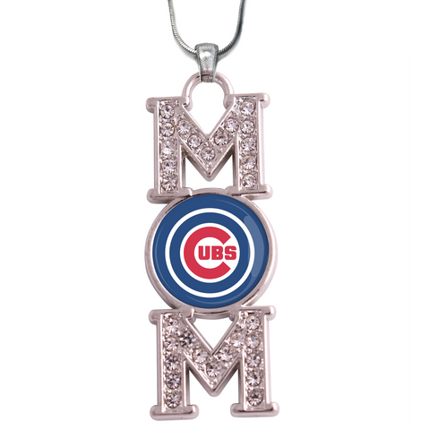 "Chicago Cubs ""Mom"" Crystal Silver Necklace"