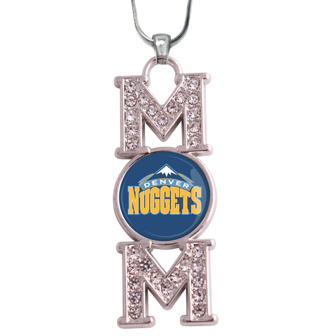 "Denver Nuggets ""Mom"" Crystal Silver Necklace"