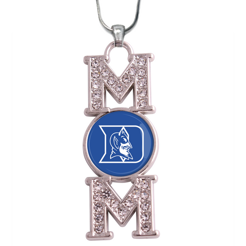 "Duke Blue Devils ""Mom"" Crystal Silver Necklace"