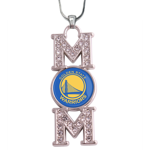 "Golden State Warriors ""Mom"" Crystal Silver Necklace"