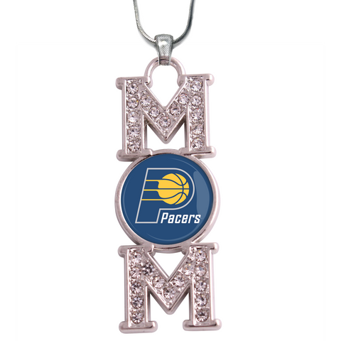 "Indiana Pacers ""Mom"" Crystal Silver Necklace"