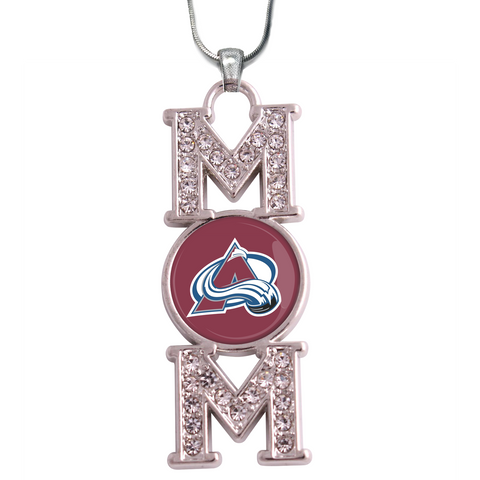 "Colorado Avalanche ""Mom"" Crystal Silver Necklace"