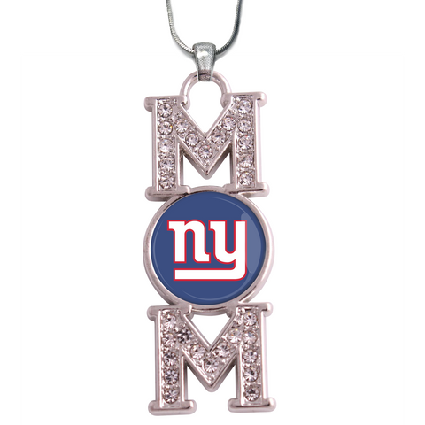 "NY Giants ""Mom"" Crystal Silver Necklace"