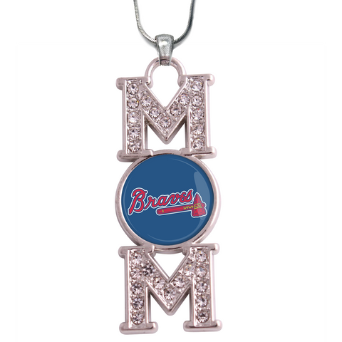 "Atlanta Braves ""Mom"" Crystal Silver Necklace"