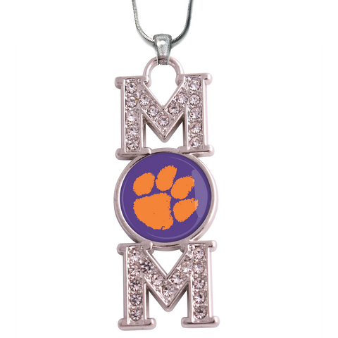"Clemson Tigers ""Mom"" Crystal Silver Necklace"
