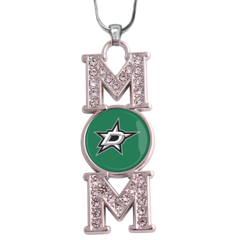 "Dallas Stars ""Mom"" Crystal Silver Necklace"