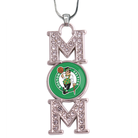"Boston Celtics ""Mom"" Crystal Silver Necklace"