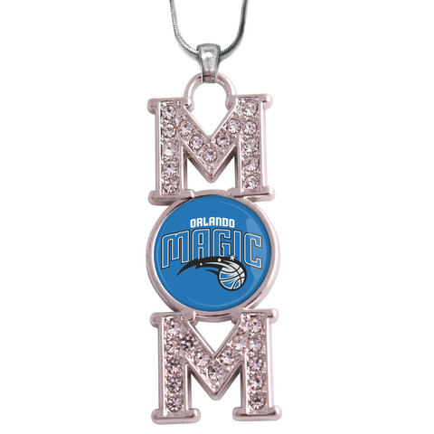 "Orlando Magic ""Mom"" Crystal Silver Necklace"