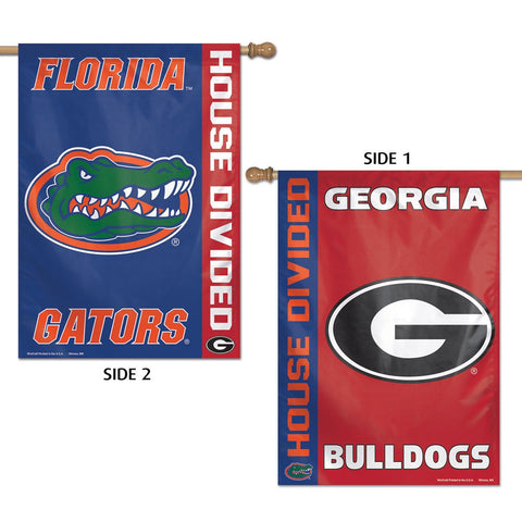 "Florida Gators & Georgia Bulldogs ""House Divided"" 28"" x 40"" Two-Sided Vertical Banner Flag"