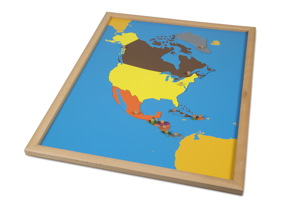 Puzzle Map North America - Beechwood Frame
