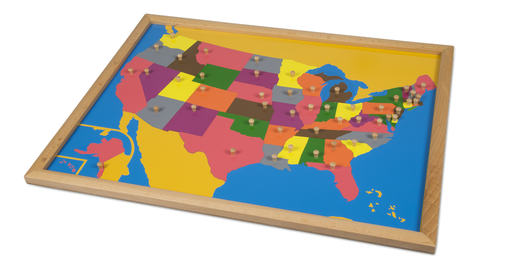 Puzzle Map USA - Beechwood Frame